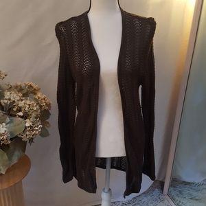 Talbots long open-front sweater sz MEDIUM brown